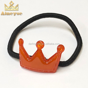 Girls Small Elastic Hair Ties Orange Crown Decorative Hair Band