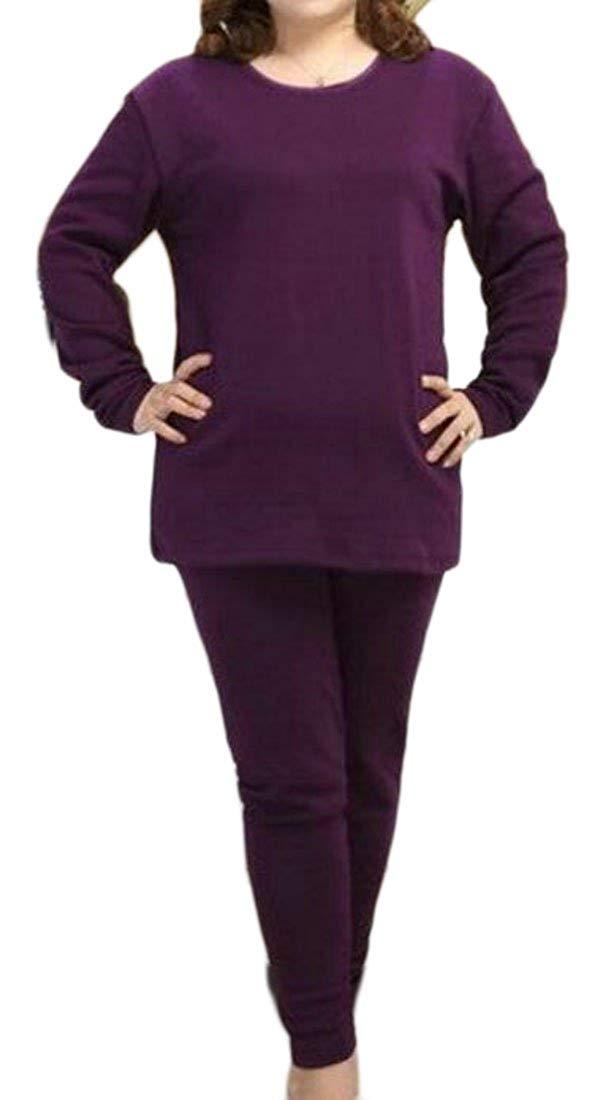 Cromoncent Womens Fleece Cotton Warm Long Johns Thermal Underwear Sets