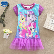New 2016 Summer Kids Fashion Baby Clothes My Pony Girl Dress Baby Girls Clothing Short Sleeve