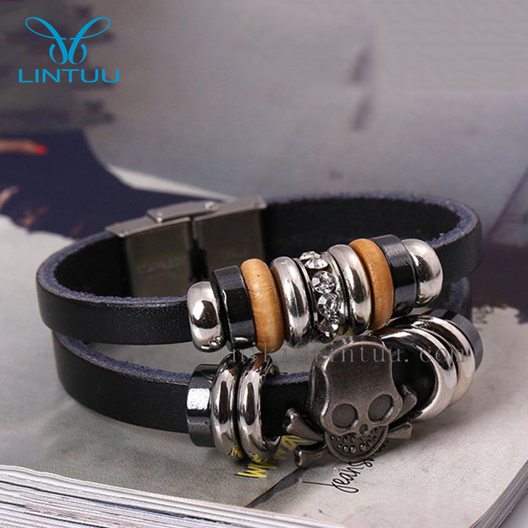 Vintage style handworking braided dark brown genuine leather jewellery silver magnet clasp skull bracelet for men