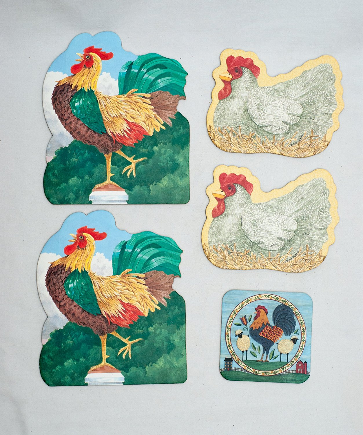 Hen and Rooster Chicken Themed Absorbent Beverage and Pitcher Coasters with Cork Backing (Pack of 5) Beverage Coaster Artwork By Deb Strain and Diane Knott