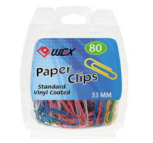 Vinyl Coated 33 mm Paper Clips 80/Clamshell