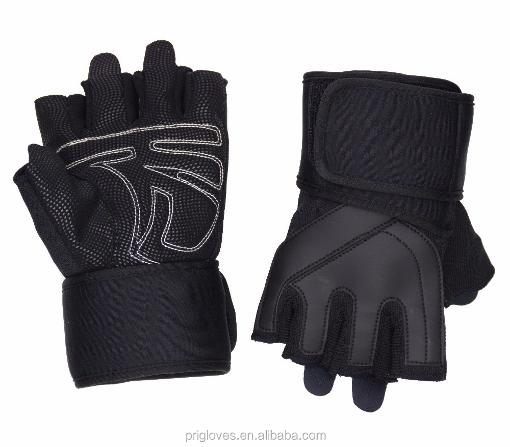 Custom Made Anti-Slip Weight Lifting Cross Training Bodybuilding Gym Fitness Workout Gloves with Wrist Wraps