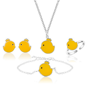 Little Chick Ctue Animal Style Silver Bright Jewelry Sets For Ladies
