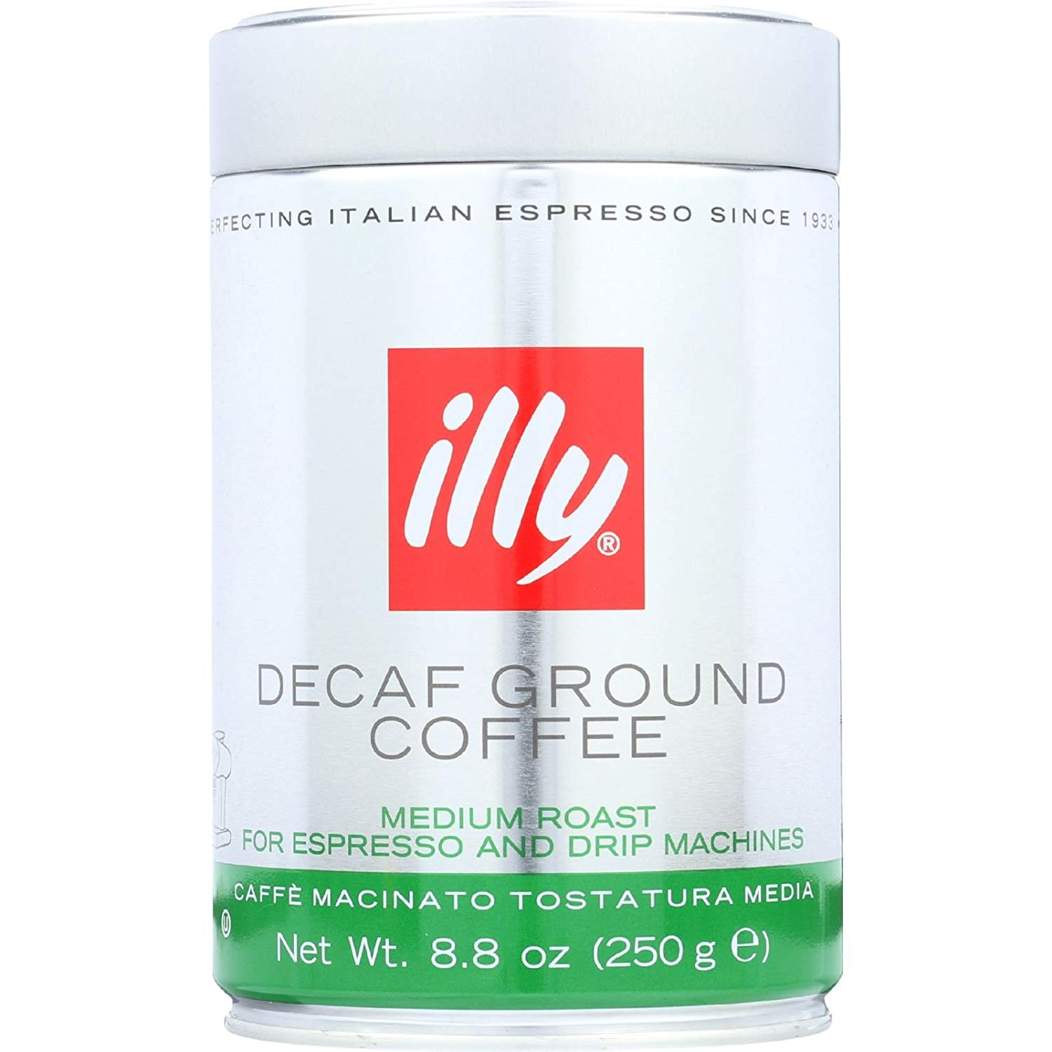 Illy Caffe Coffee Coffee - Espresso and Drip - Ground - Medium Roast - Decaf - 8.8 oz - case of 6 -