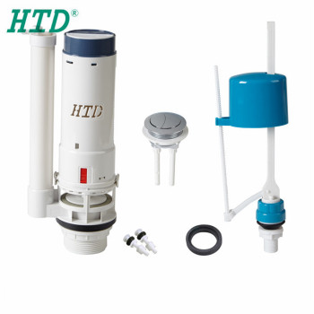 Bathroom type toilet tank dual flush mechanism