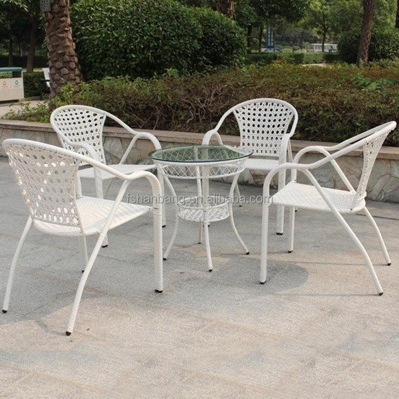 Pas cher en plein air rond en rotin table manger et chaise empilable ensemb - Table a manger plus chaise pas cher ...