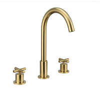 Deck Mounted Brushed Gold Brass Bathroom Faucets Shower Basin Faucet