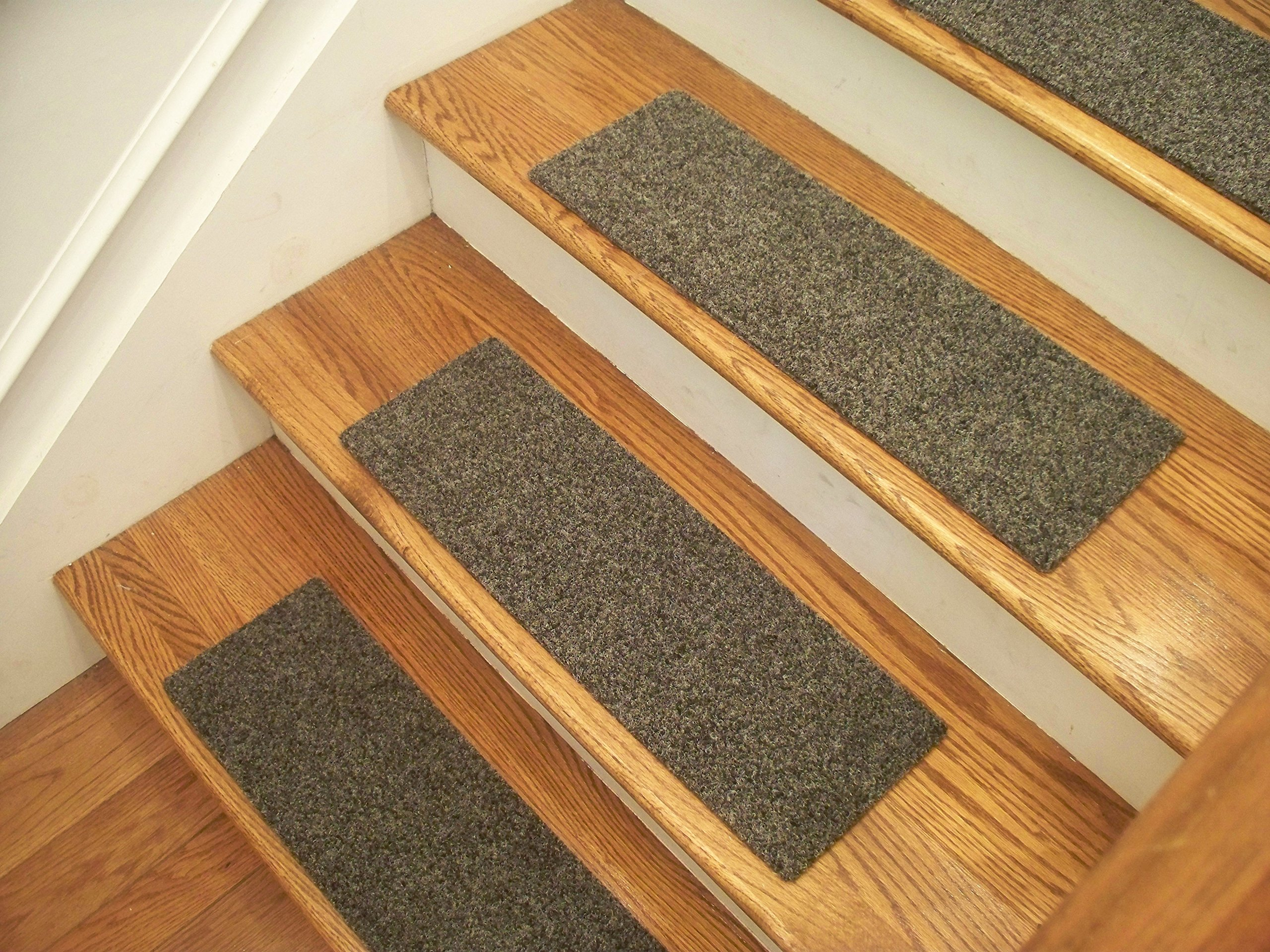 """Essential Carpet Stair Treads - Style: Brush - Color: Graphite Gray - Size: 24"""" x 8"""" - Set of 13"""