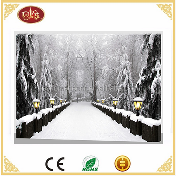 Winter landscape LED Canvas Wall Frames lighted LED pictures