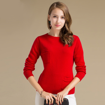 Latest Sweater Designs Two Pockets Thicken Bright Red Cashmere ...