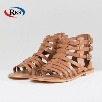 69ecf2ed4724 Latest Ladies Leather Gladiator Tan Flat Sandals Summer Sandals 2018 ...