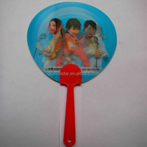 Custom 3d lenticular PP manual plastic hand held fan