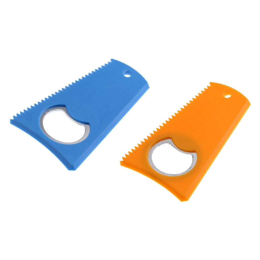 "Dovewill 2 Pieces Blue + Yellow 3.15"" x 2"" Surfing Surfboard Wax Comb Wax Scraper Remover with Bottle Opener - 3 Sided Versatility Easy to Use & Carry"