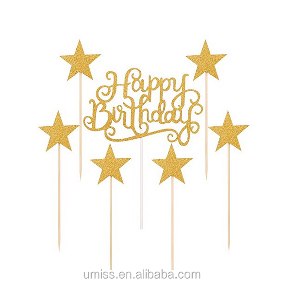 Umiss Paper Gold Glitter Happy Birthday Cake Toppers And Five ...