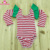 Baby frock toddler cotton bodysuit leotard wholesale stage dance gymnastic girls pink stripe long flutter sleeve leotard