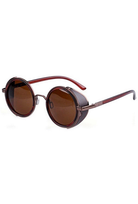 TOOGOO(R)80's Vintage Style Classic Round Steampunk Sunglasses-Bronzed + Dark Brown