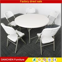 5 Ft Outdoor Plastic Round Banquet Folding Table For Camping Picnic Barbecue