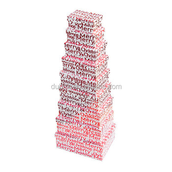 Merry Christmas Text Nested Boxes - Set Of 9 - 2016 Gift Box - Buy ...