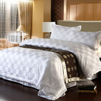 Embroidered White 100% Cotton Hotel Bed Sheet Set