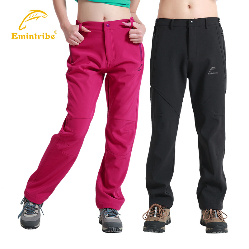 Outdoor soft shell pants  Fleece Trousers thick warm autumn and winter water repellent windproof Trousers male and female models