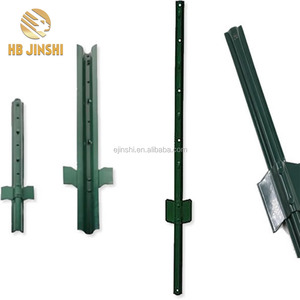 Factory Directly 6 ft length Heavy Duty 14gauge Green Poly Coated Steel U Channel wire Posts