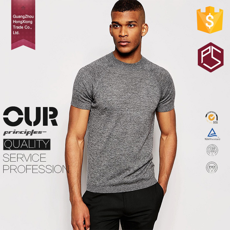 Wholesale high quality short sleeve o neck slim fit dri fit blank gray mens merino wool t shirt