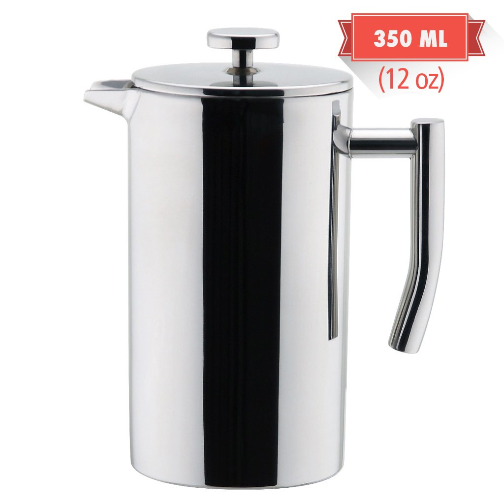 MIRA Stainless Steel French Press Coffee Maker | Double Walled Insulated Coffee & Tea Brewer Pot & Maker | Keeps Brewed Coffee or Tea Hot | 12 Oz (350 ml)