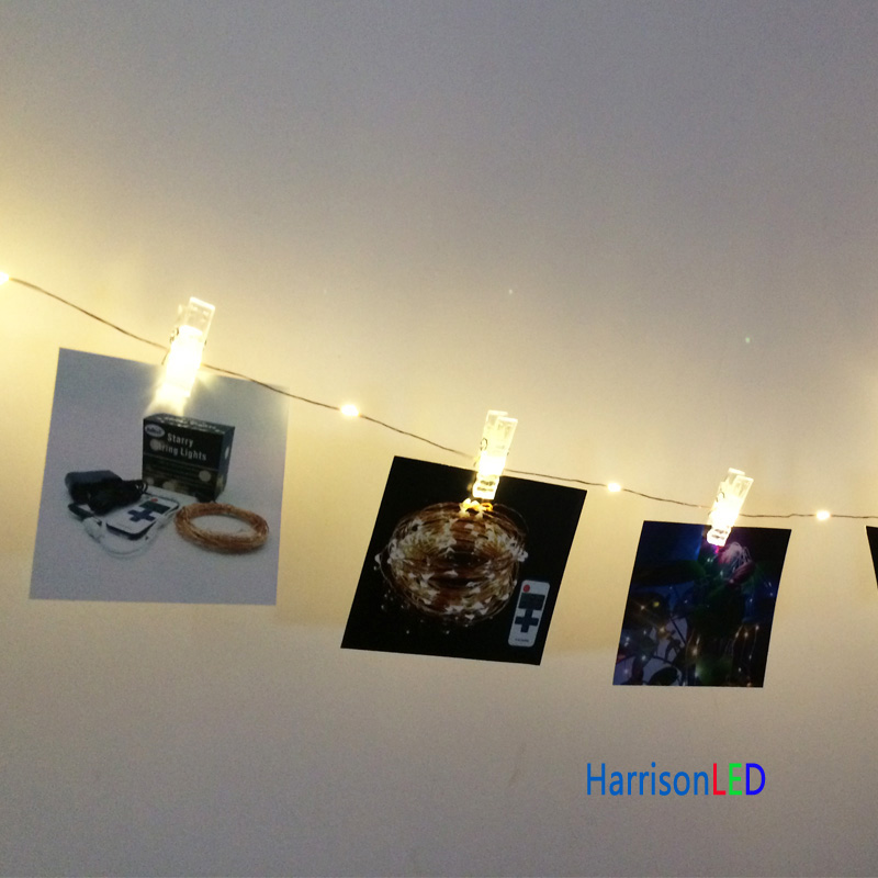 10m 100led Warm White 20 Transparent Clip Hanging Photo Pictures ...