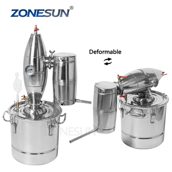 ZONESUN Household Stainless Steel Home Wine Brewing Device 30L Alcohol Distiller Wine Maker English Manual Distillation