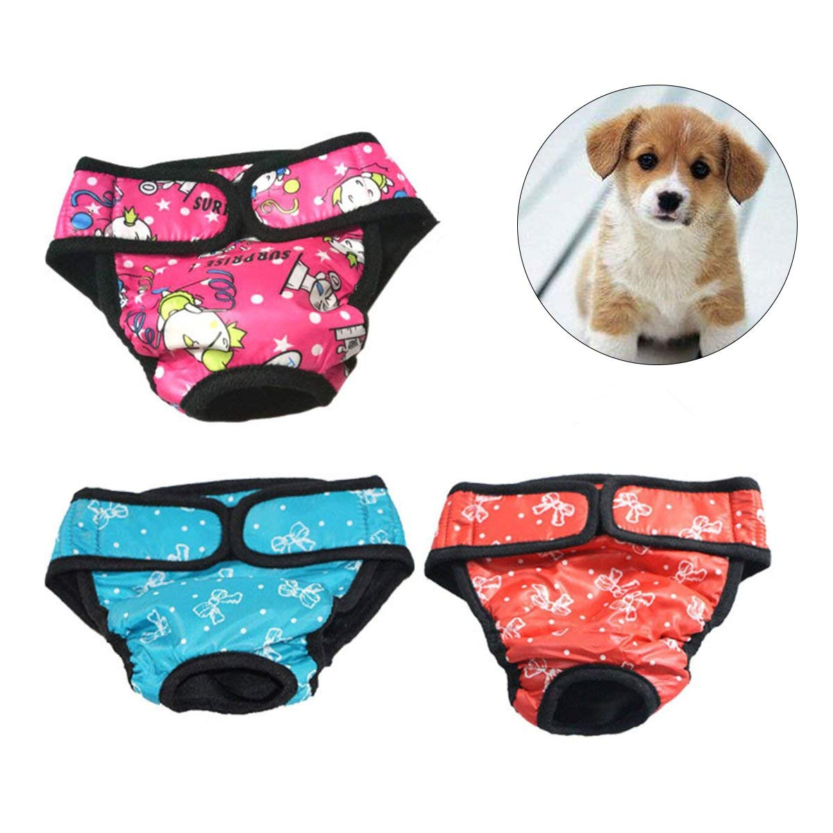 UEETEK 3Pcs Pet Physiological Pants, Washable Dog Diaper, Reusable Dog Sanitary Shorts Panties Menstruation Underwear Briefs - Size XS