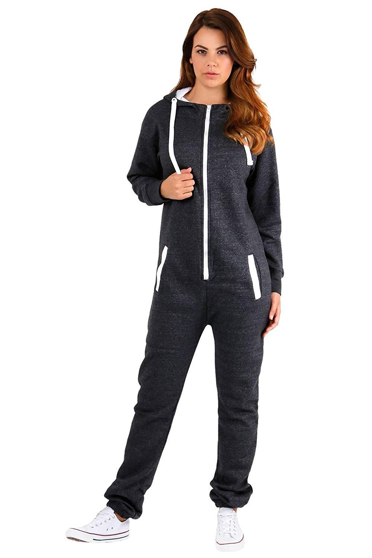 1bd84d87c21 Janisramone New Womens Plain Hooded Fleece All In One Jumpsuit Zip Up  Onesie Playsuit Romper