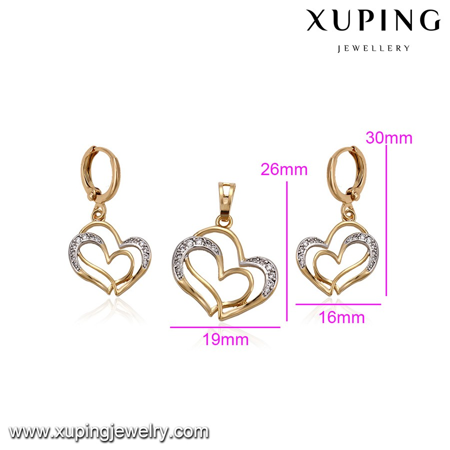 64381 holy love jewelry, 2019 new 18k gold jewelry sets, heart shaped fashion jewelry sets