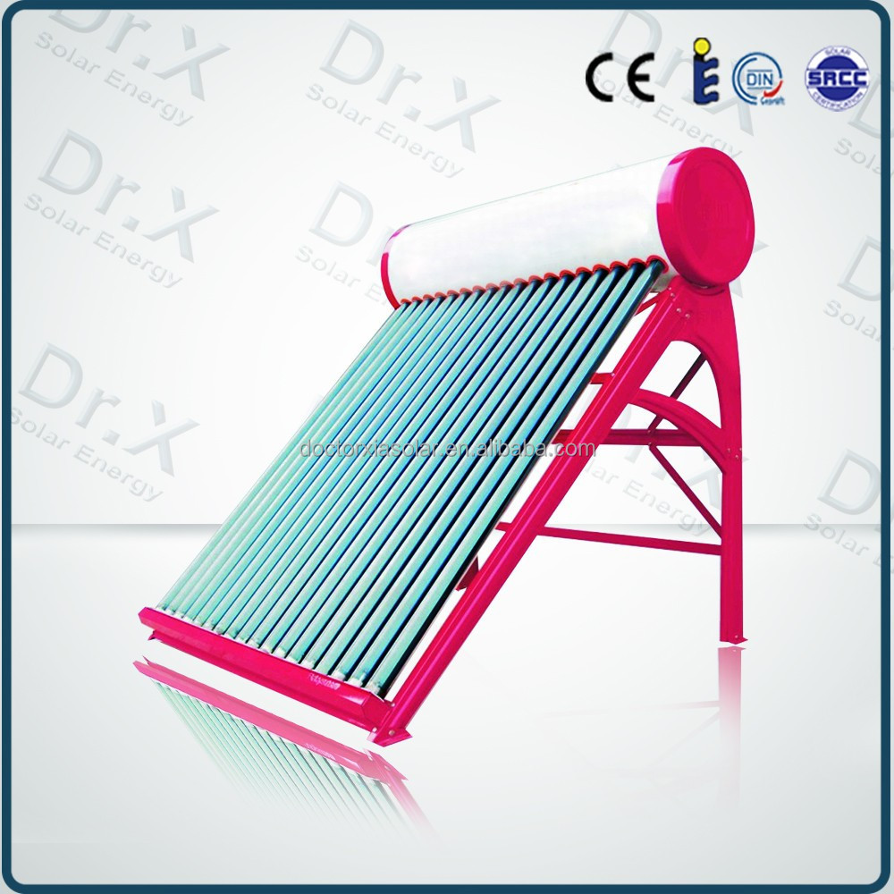 Rose red frame Direct Manufacturer portable Compact Non-pressurized solar water heater,solar water heater spare parts