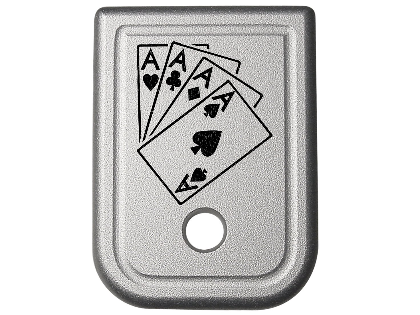 Playing Cards 4 Aces Silver Floor Base Plate for Glock Gen 1-4 G20 G21 G29 G30 G40 G41 10mm .45 Caliber