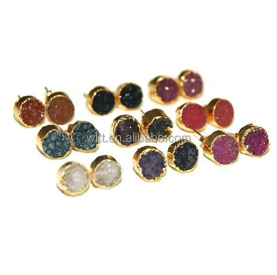 WT-E063 Newest! Wholesale Natural Round Druzy Stud Earring,Fashion Gold Plated Fancy Druzy Stud Earring