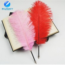 Classic feather ballpoint pen wholesale feather quill pen with metal body