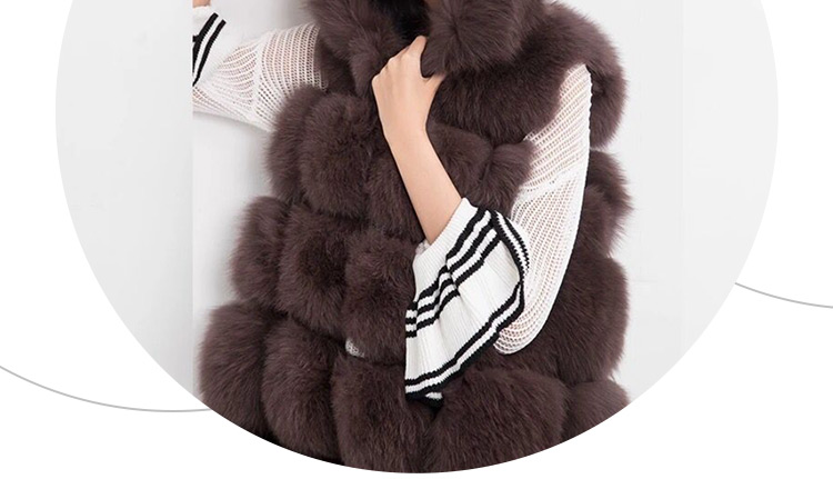 European style high quality fluffy brown fox fur gilet with hood