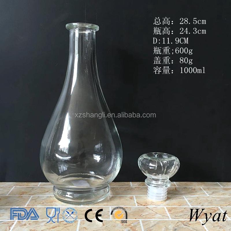 Premium Round 1 Liter 1000ml Glass Wine Bottles With Glass ...