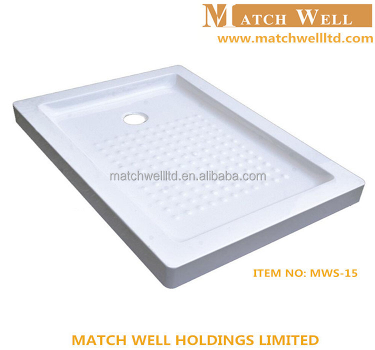 Factory solid surface gel coat 36x48 flat round shower pan