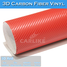 Red 1.52x30m carbon fiber wrap car fibre de carbon
