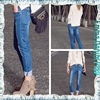Bright Indigo Paint Embroidery Leigh Jeans Slim Fit Women Stylish Organic Cotton Denim Collections