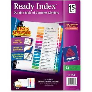 "Avery Ready Index Dividers,TOC,1-15 Tab,3HP,8-1/2""x11"",1/ST,Multi (11143)"