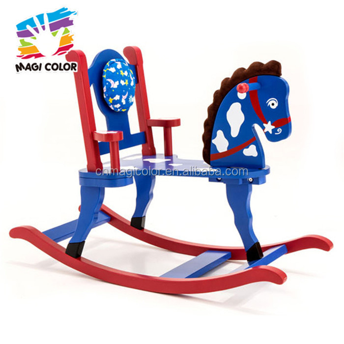 Wholesale luxurious style blue wooden baby rocking horse toy have a backrest W16D033