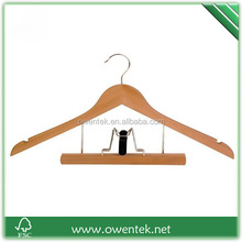 Top quality mechanical clothes rack, FSC multifunction wooden suit hangers