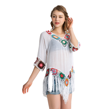 b020ef77e82 White Summer Crochet Beach Dress Fringe Cover Uo Swimwear Beachwear ...