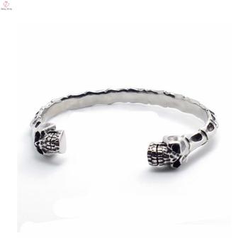 Cool Mens Women 316l Stainless Steel Skull Skeleton Bracelet Fashion Silver Stone Ringent Cuff Bangle