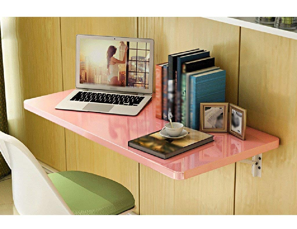 Mmdp Computer Desk Wall-mounted Desk Foldable Dining Table Office Table 6040cm Learning Table Color Optional (Color : Pink)