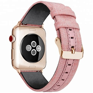 NEW For apple watch leather strap PU+Cotton Cloth Canvas watch band for apple watch strap 38mm/42mm