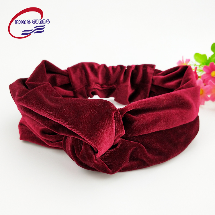 2017 hotsales velvet turban headband elastic head wrap hair band for women